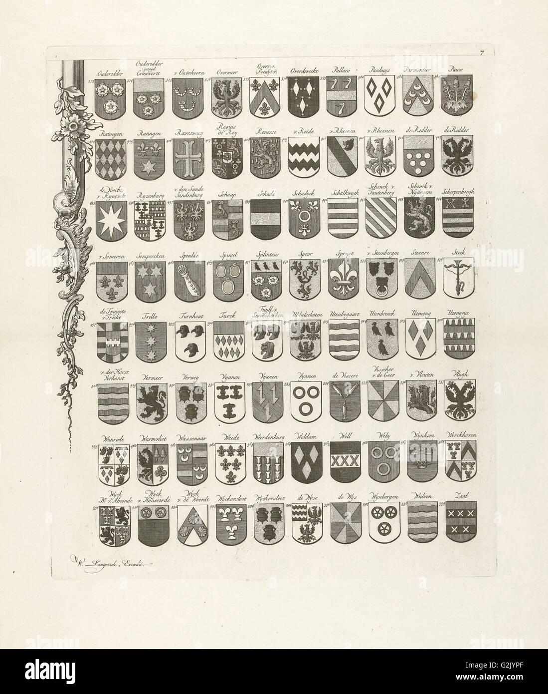 Unteren linken Blatt aus einer Reihe von neun Drucke, alle mit Waffen der alten Linien aus Utrecht, Niederlande Stockbild
