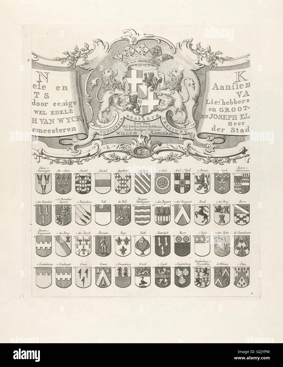 Oben in der Mitte Blatt aus einer Reihe von neun Drucke, alle mit Waffen der alten Linien aus Utrecht, Niederlande Stockbild