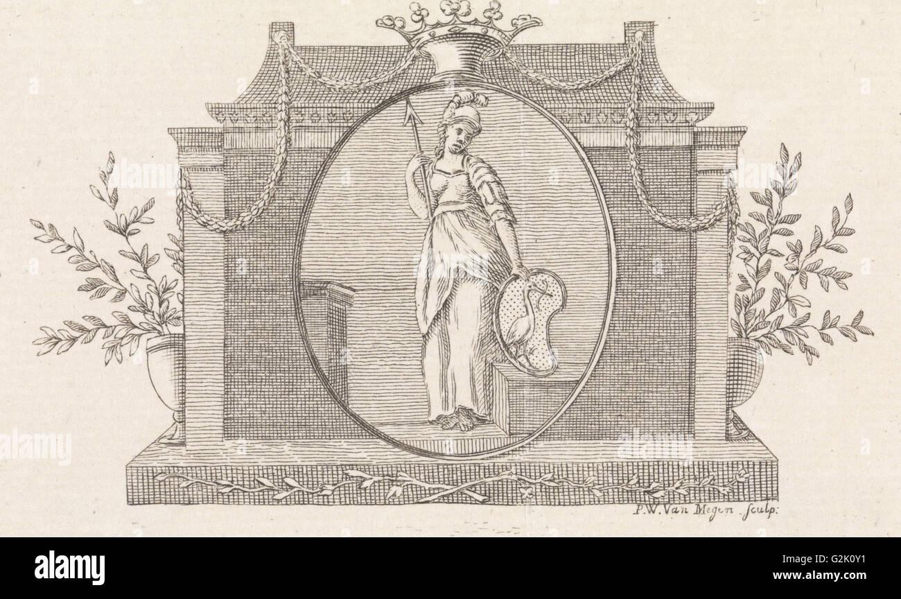 Minerva mit der Haag Waffe, Pieter Willem van Megen, 1760-1785 Stockbild