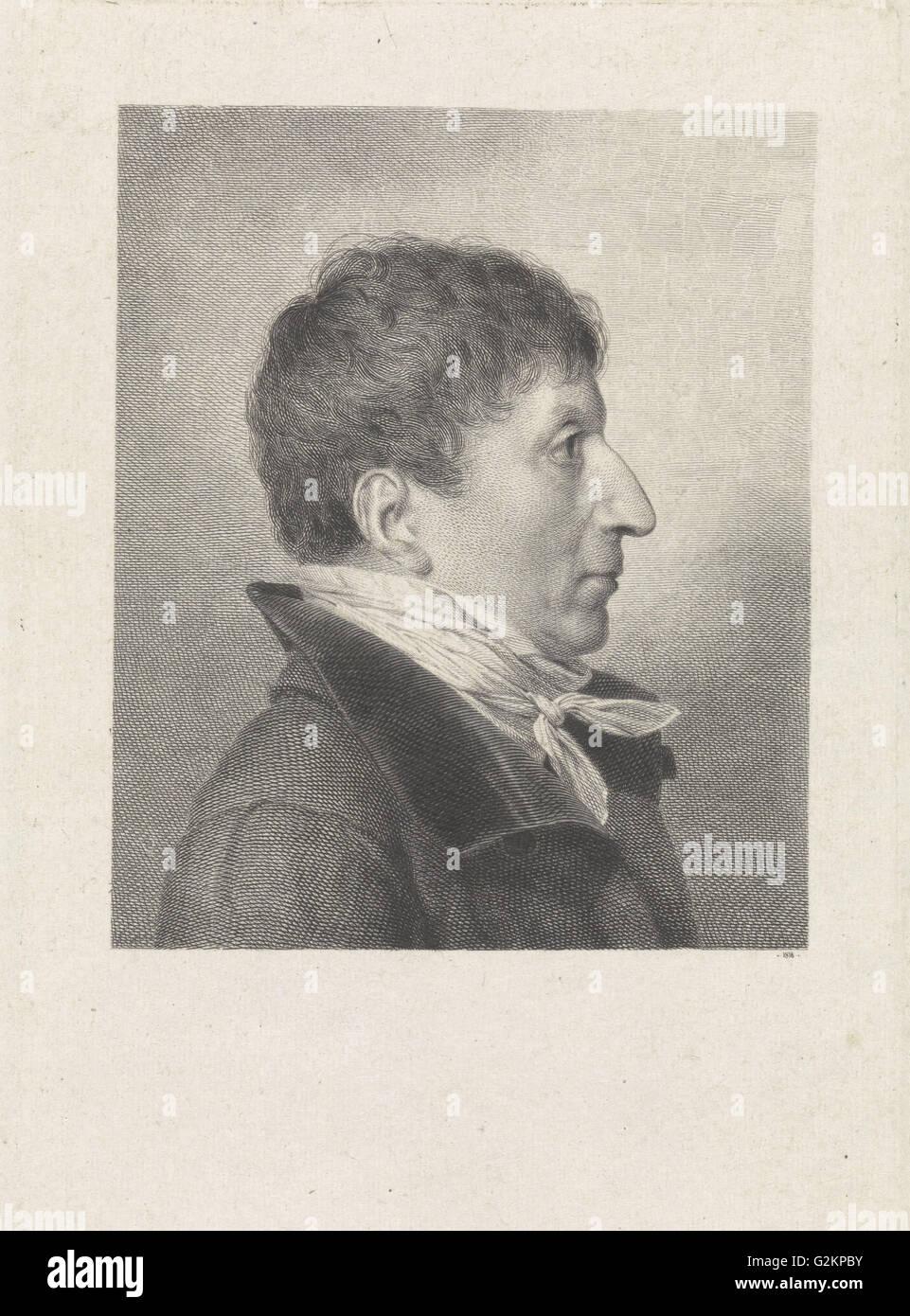 Porträt eines unbekannten Mannes im Profil nach rechts, print Maker: Benoit Taurel, 1818 Stockbild