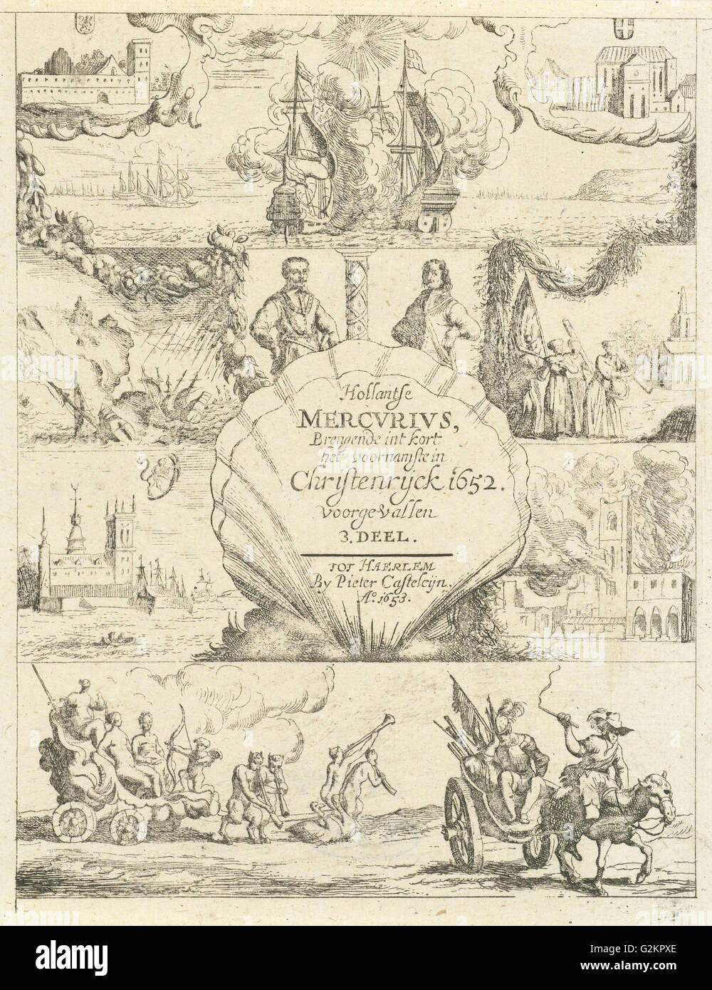 Mehrere Ereignisse in Europa im Jahr 1652, print-Hersteller: Dirck de Bray, Pieter Casteleyn, 1653 Stockbild