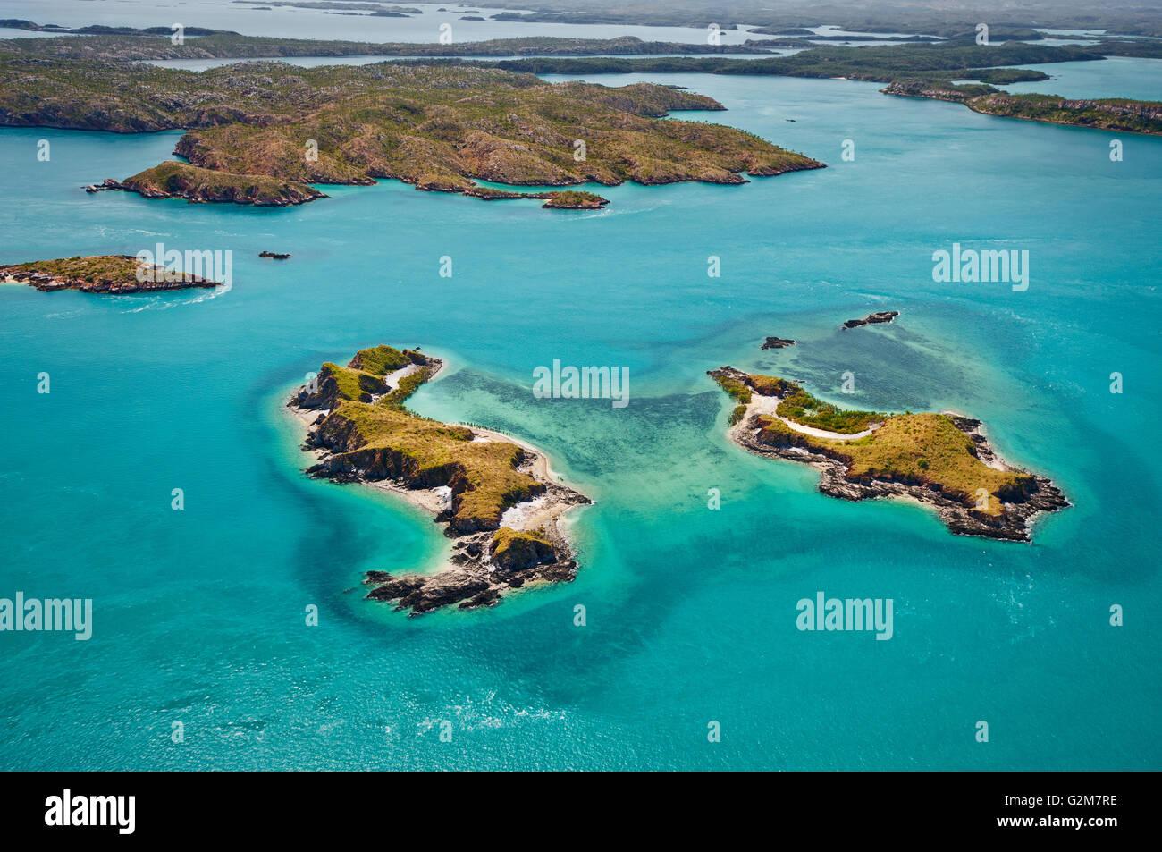 Packer-Inseln im Buccaneer-Archipel. Stockbild