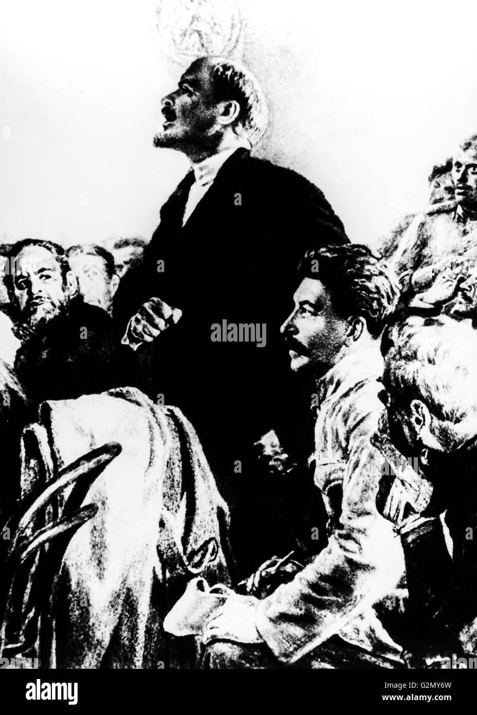 Malerei von Lenin und Stalin, von der albanischen Stempel zu Ehren der Oktoberrevolution Stockbild