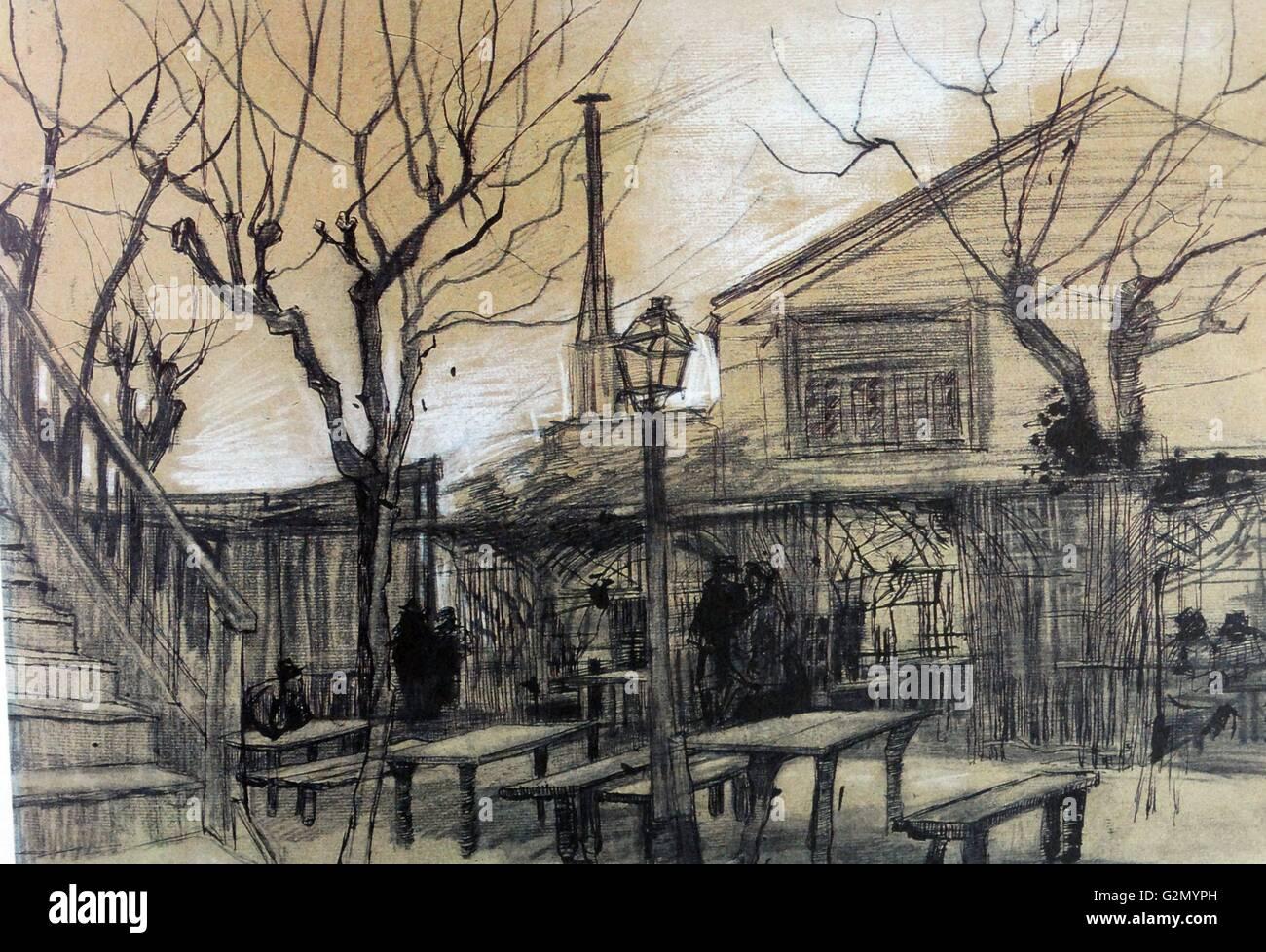 Vincent Van Gogh Die Terrasse Des Cafe La Guinguette Stockfoto