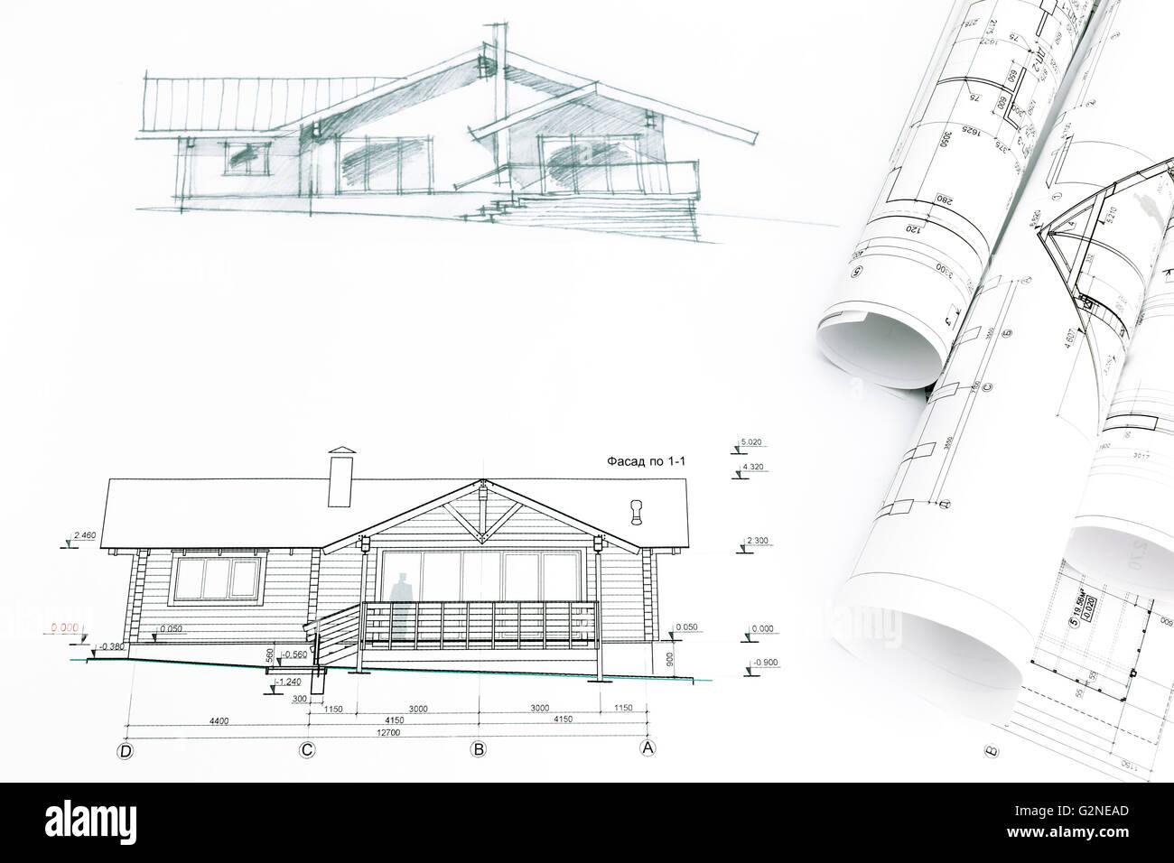 Haus-Skizze mit Blaupausen für Ingenieurwesen und Architektur ...