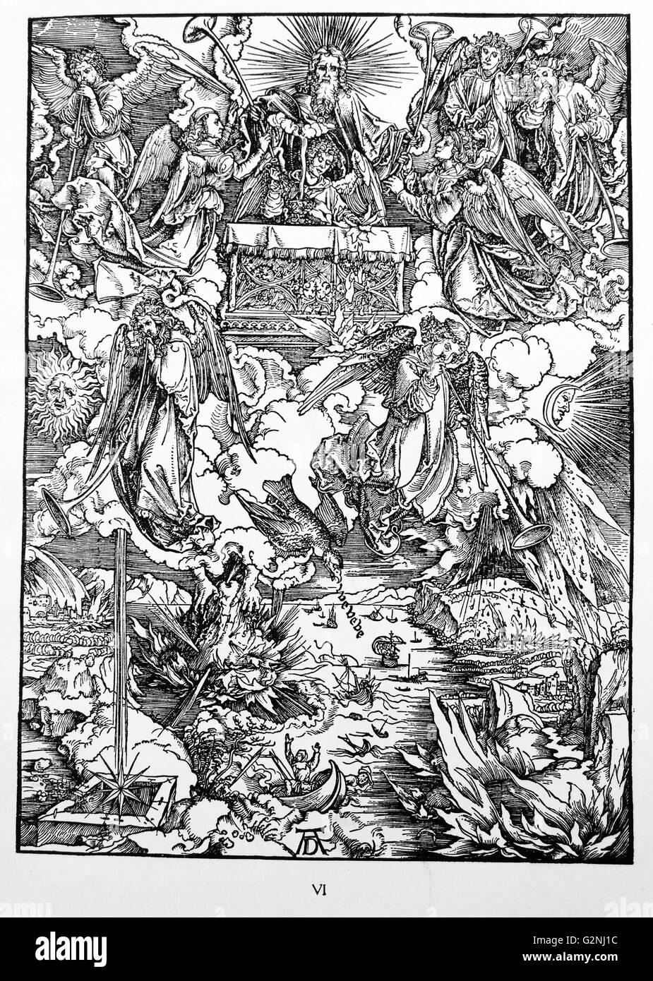 Holzschnitt von Albrecht Dürer; Weltgericht Stockbild