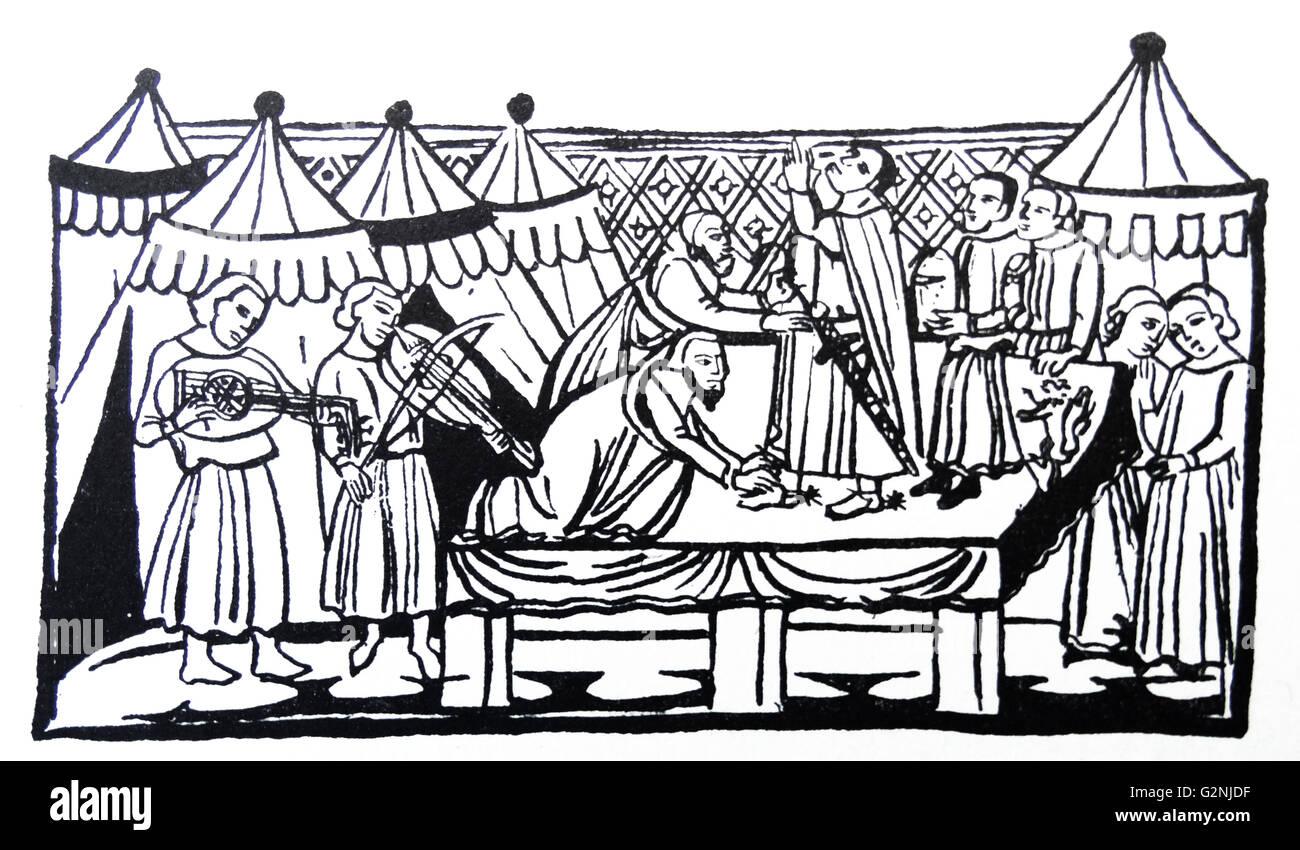 Strichzeichnung Darstellung die Bewaffnung eines Ritters Stockbild