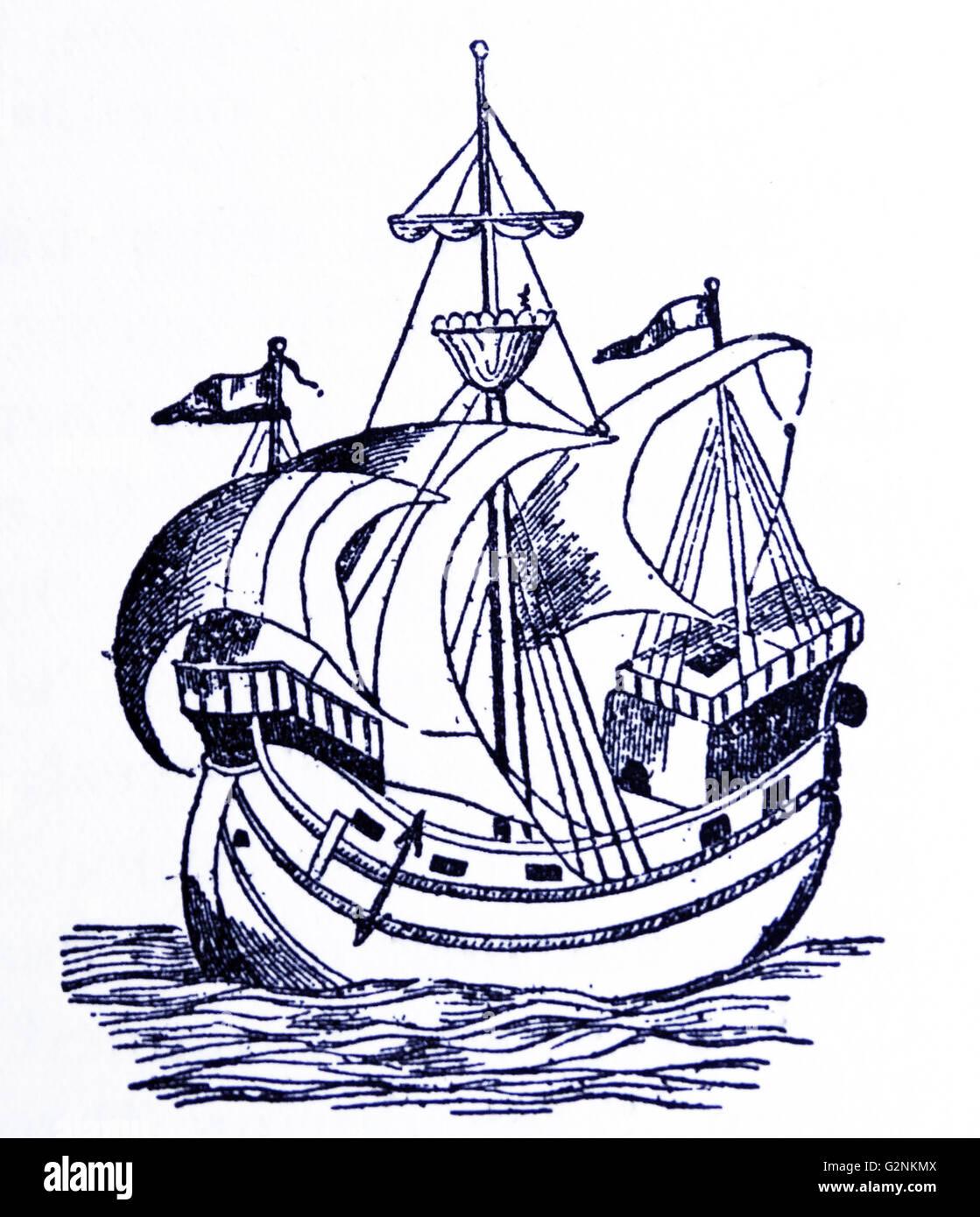 Ein Schiff aus dem 16. Jahrhundert. Stockbild