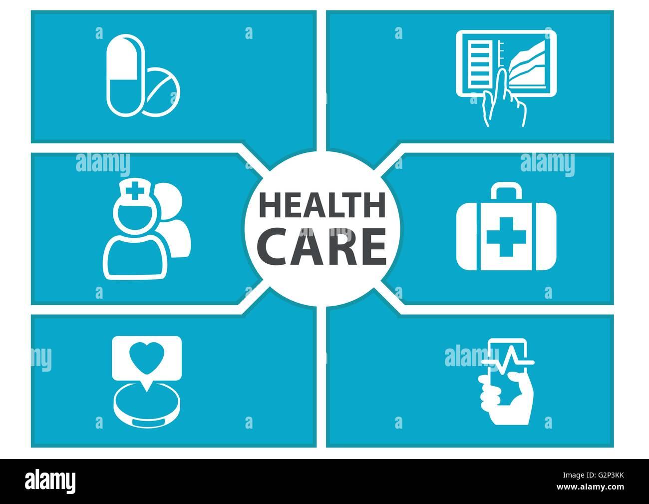 E-Health Care Hintergrund mit Symbolen von modernen Geräten wie Smartphone, Tablet, digitale Patientenakte Stockbild