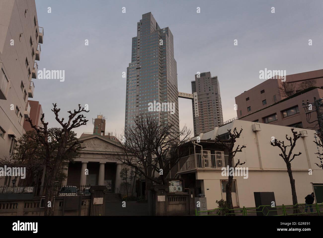 Lukas Turm in Chuo Ward, Tokio, Japan. Freitag, 5. Februar 2016 Stockbild