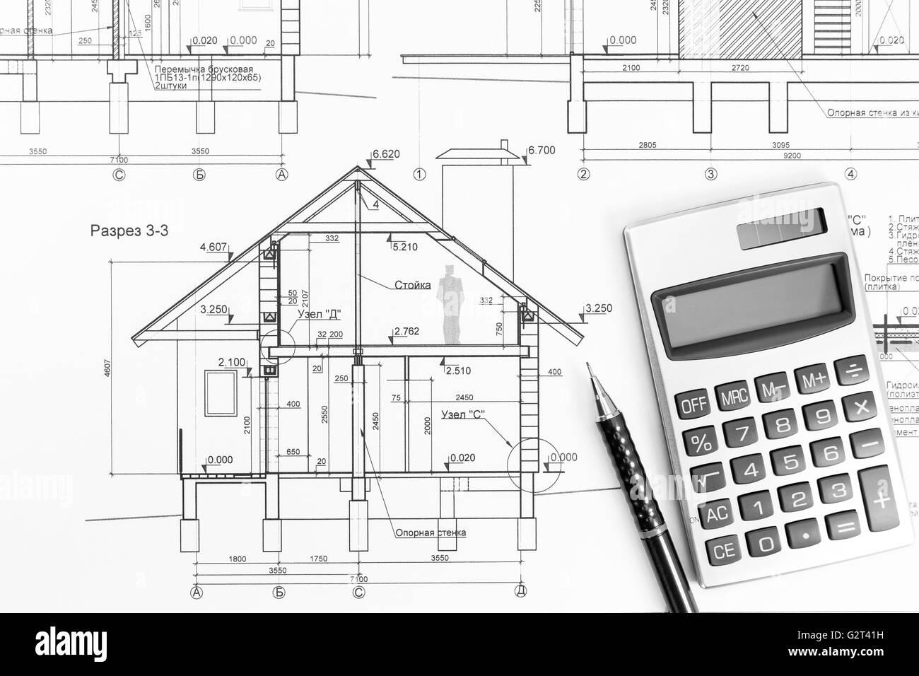 Bauzeichnungen Des Modernen Hauses Mit Taschenrechner Und Bleistift