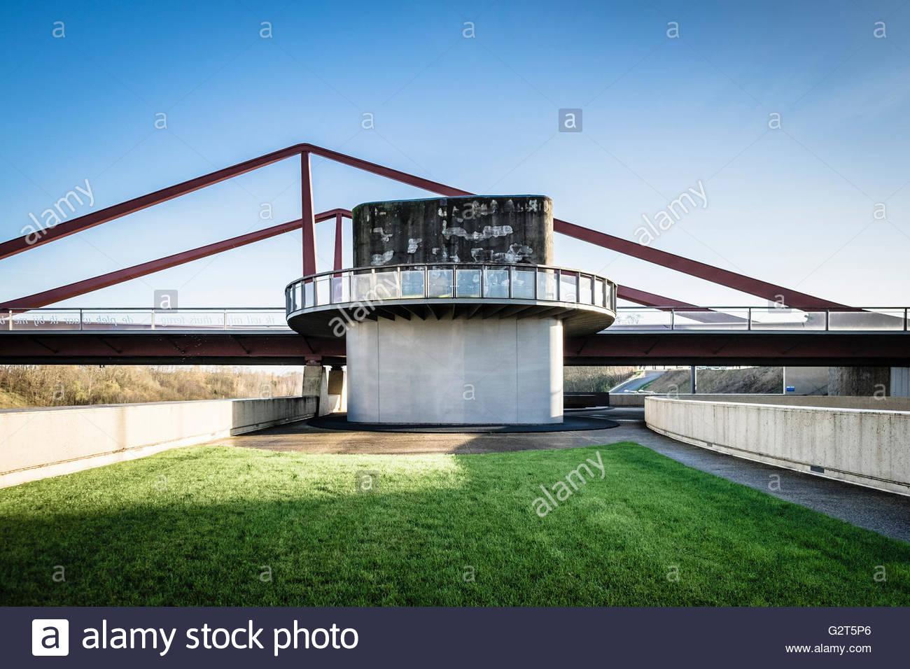 Moderne Architektur, Brug van Vroenhoven, Reimst, Limburg, Flandern (Flandern), Belgien Stockbild