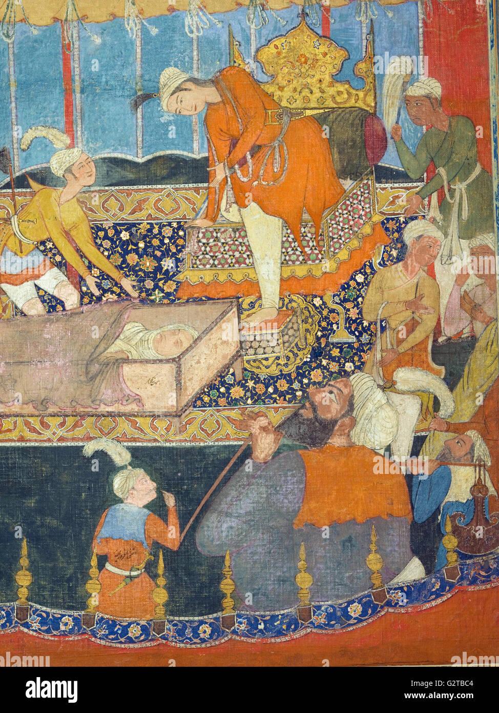 Unbekannt, Indien, 16. Jahrhundert - Illustration von Qissa-i Amir Hamza- Stockbild