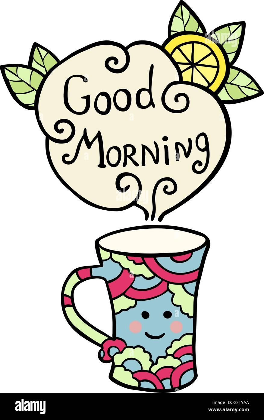 Karte Mit Smiley Tasse Tee Und Text Guten Morgen Vektor