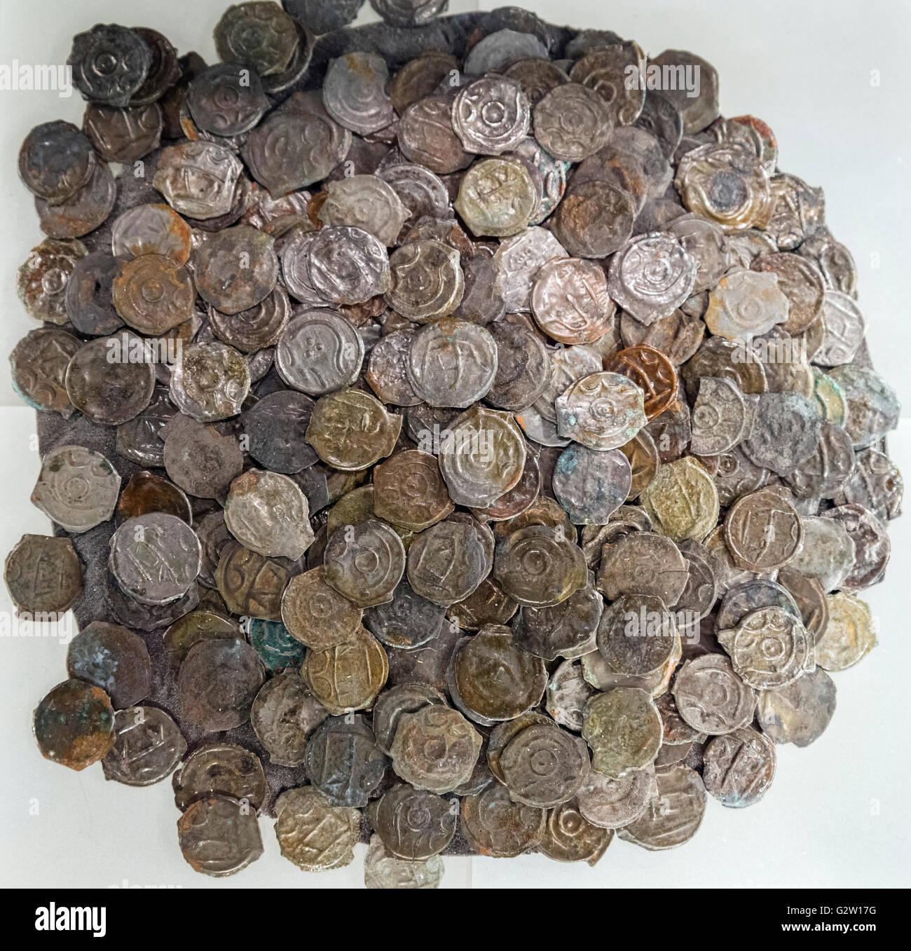 Eisenzeit High-Dose Bronzemünzen von Sunbury Hort, c.100-50 v. Chr., gefunden in Shepperton in der Nähe Stockbild