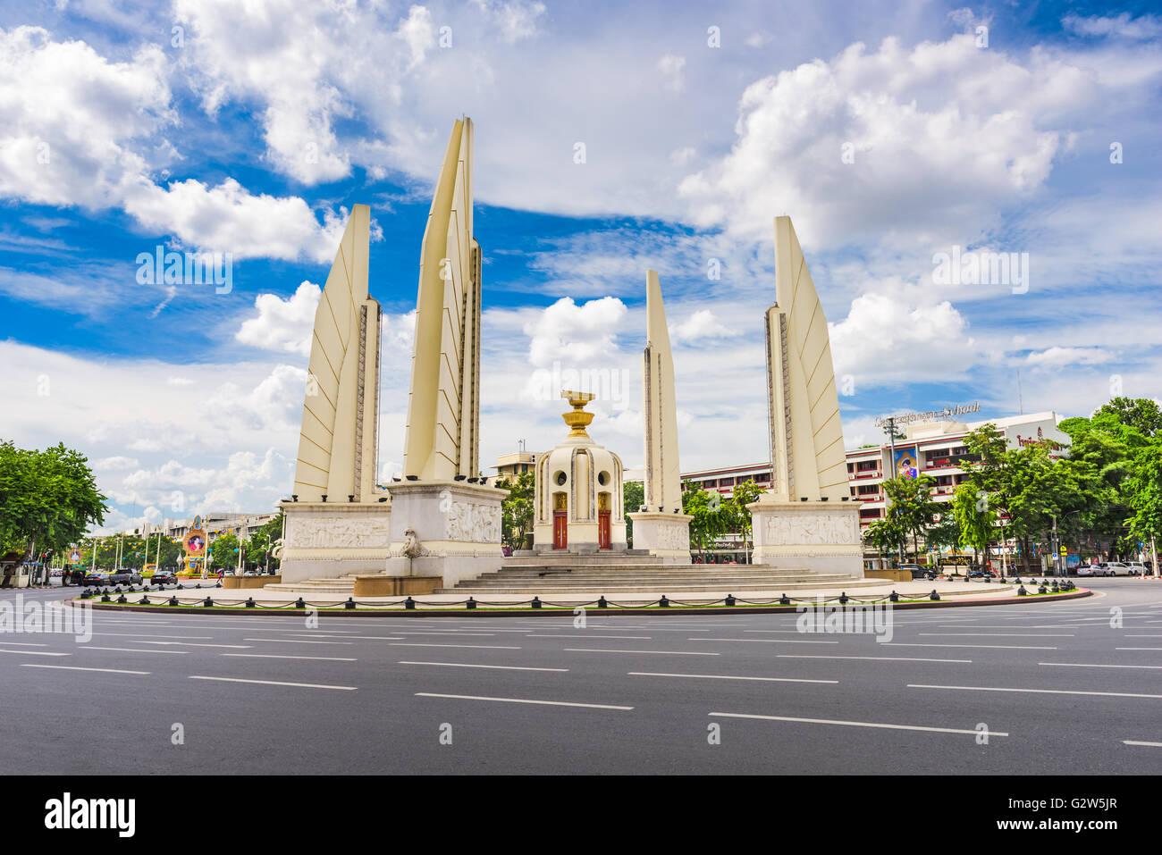 Das Democracy Monument und Kreisverkehr und Bangkok, Thailand. Stockbild
