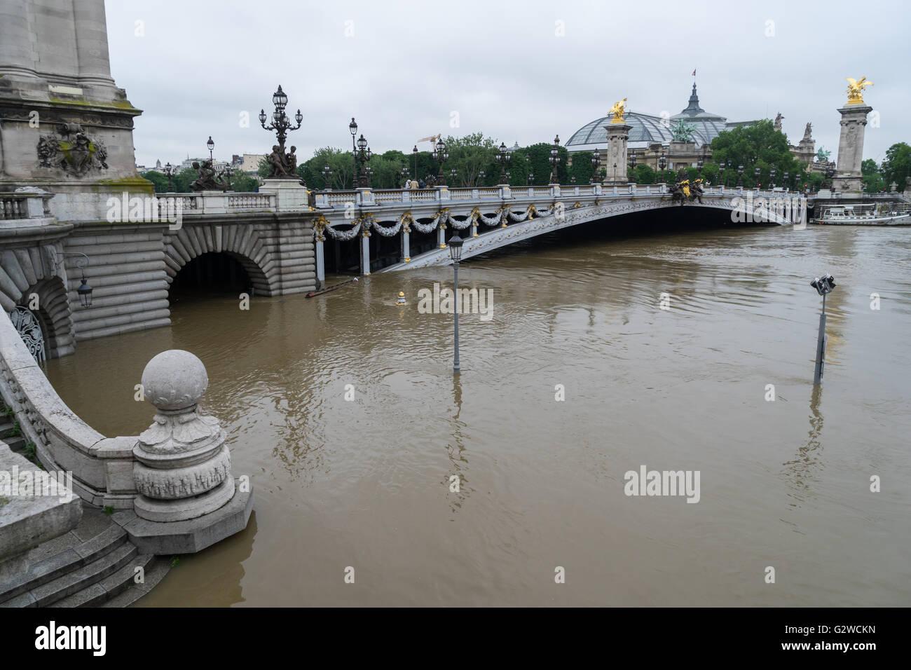 Seine Hochwasser Juni 2016 in Paris, Frankreich Stockfoto