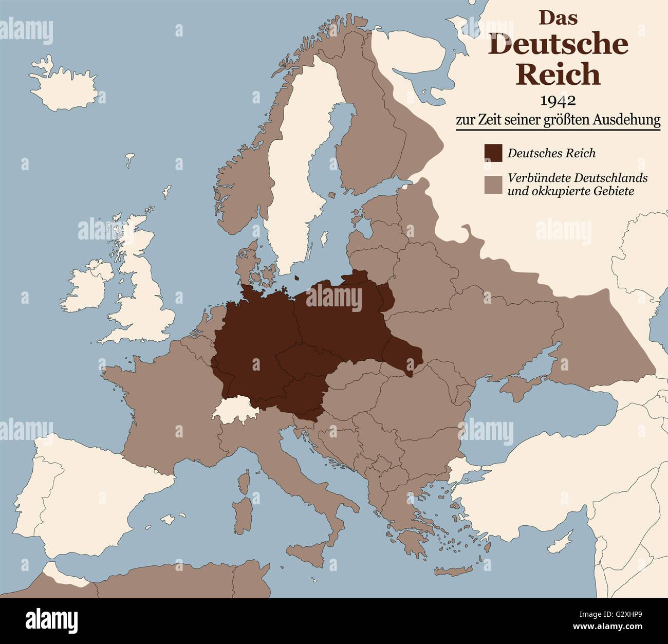 karte deutschland 1942 Dritten Reiches seine größte Ausdehnung im Jahre 1942. Karte von