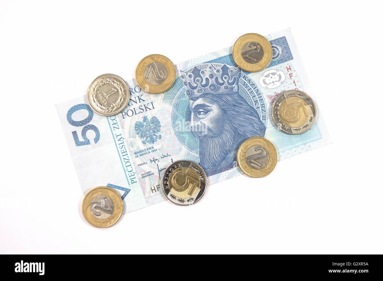 Geld Polnische Währung 50 Zloty Banknoten Und Münzen Stockfoto