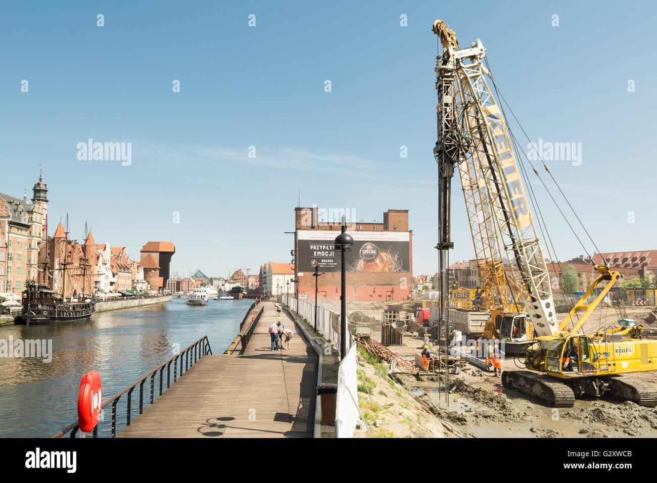 Bauarbeiter auf der Baustelle auf der Speicherinsel, Gdansk, Polen, Europa Stockbild