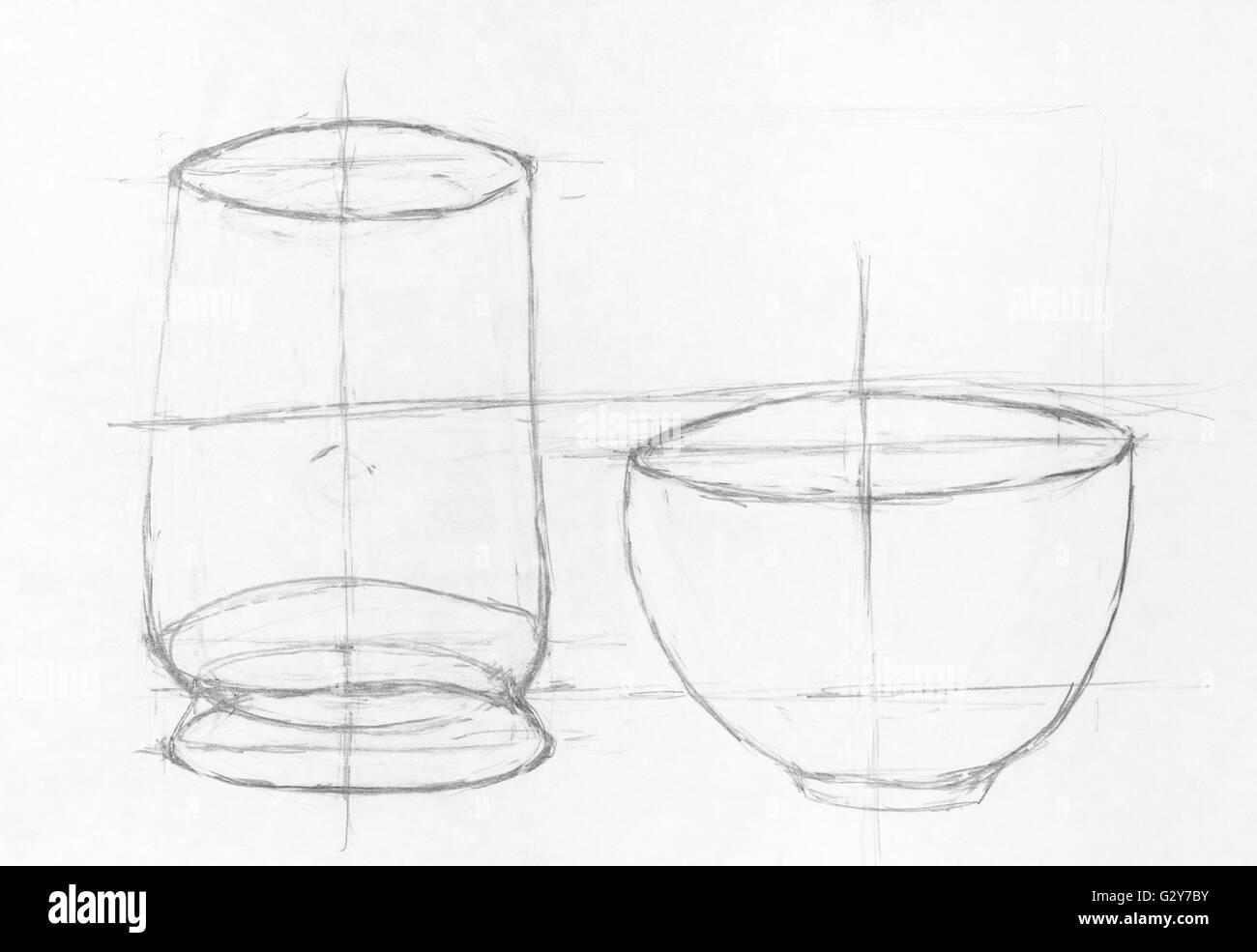 Kinder Zeichnung Zeichnung Von Zwei Schalen Hand Mit Bleistift