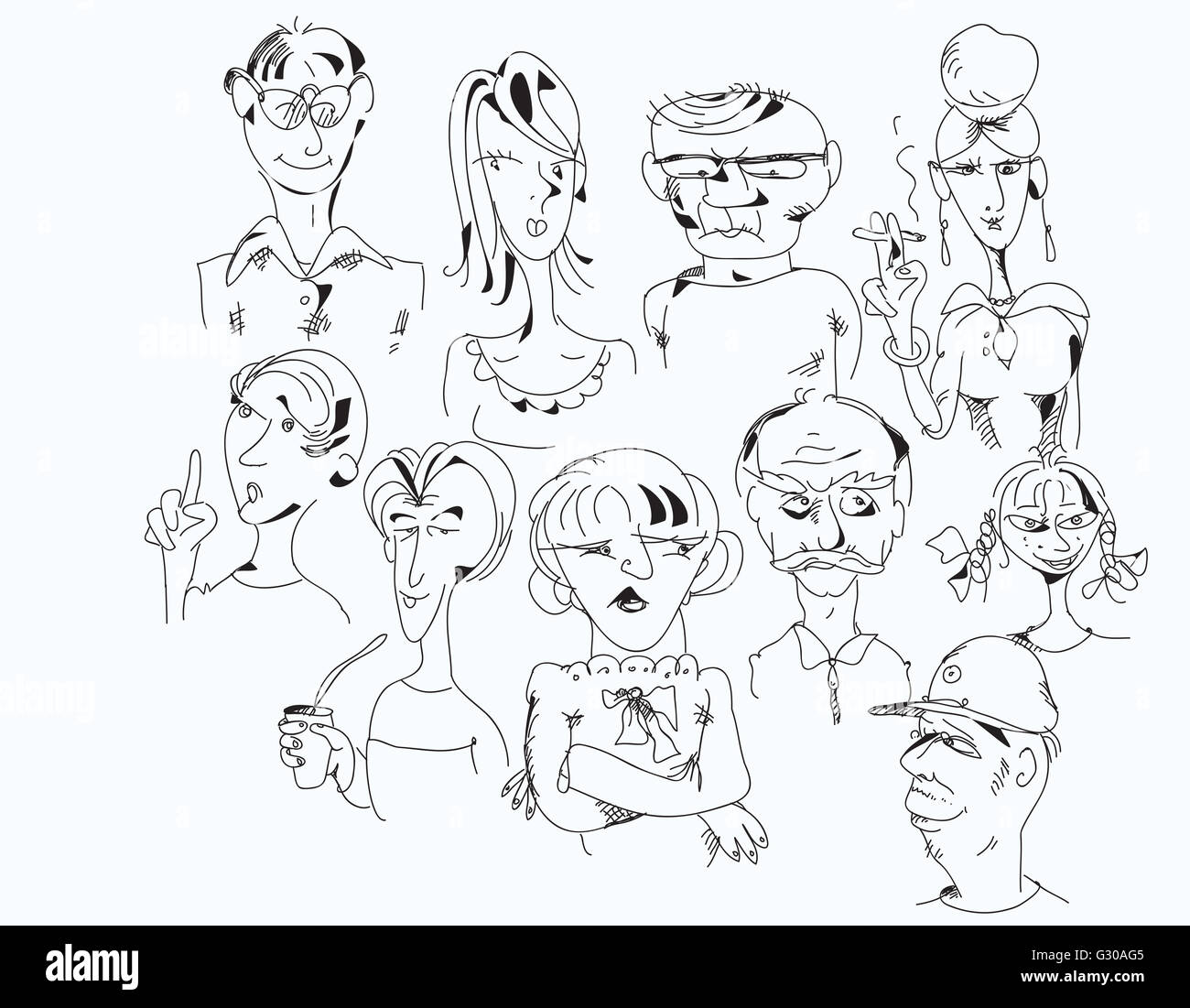 Verschiedene Charaktere Stockbild