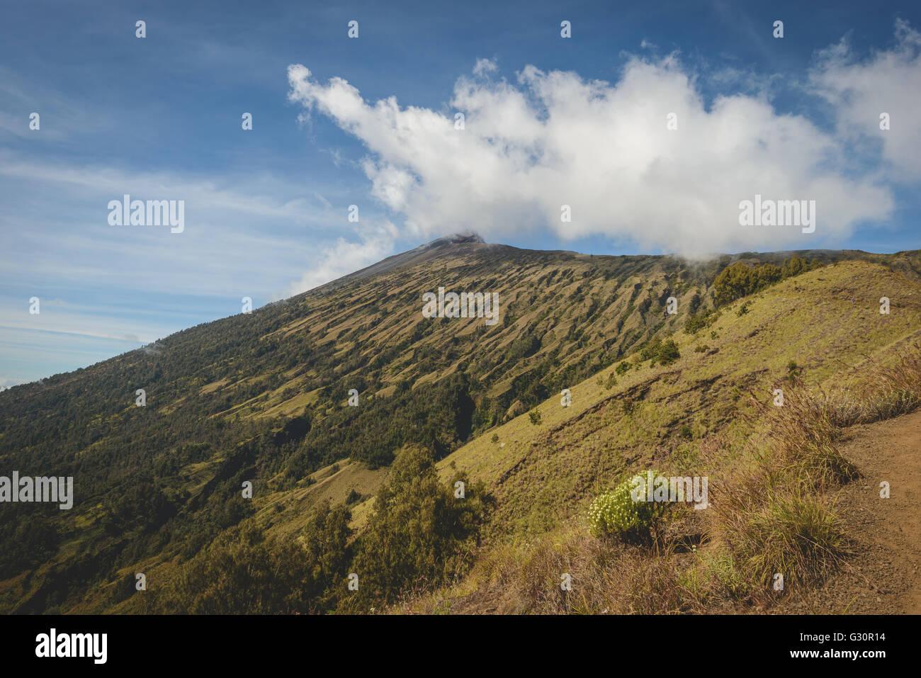 Die Mt Rinjani-Gipfel von unten Stockbild
