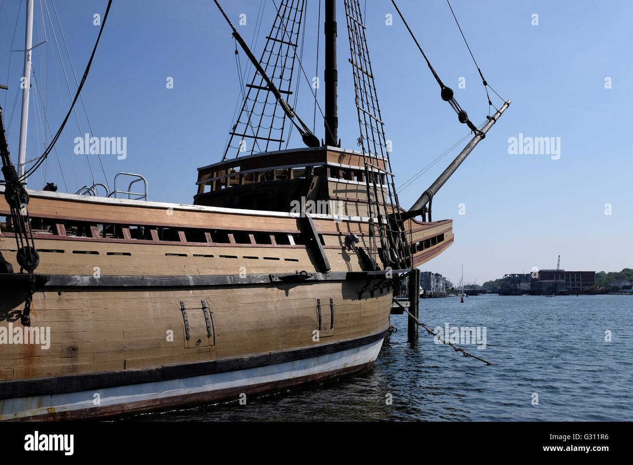 Die Mayflower II in Mystic Seaport, Connecticut Stockbild