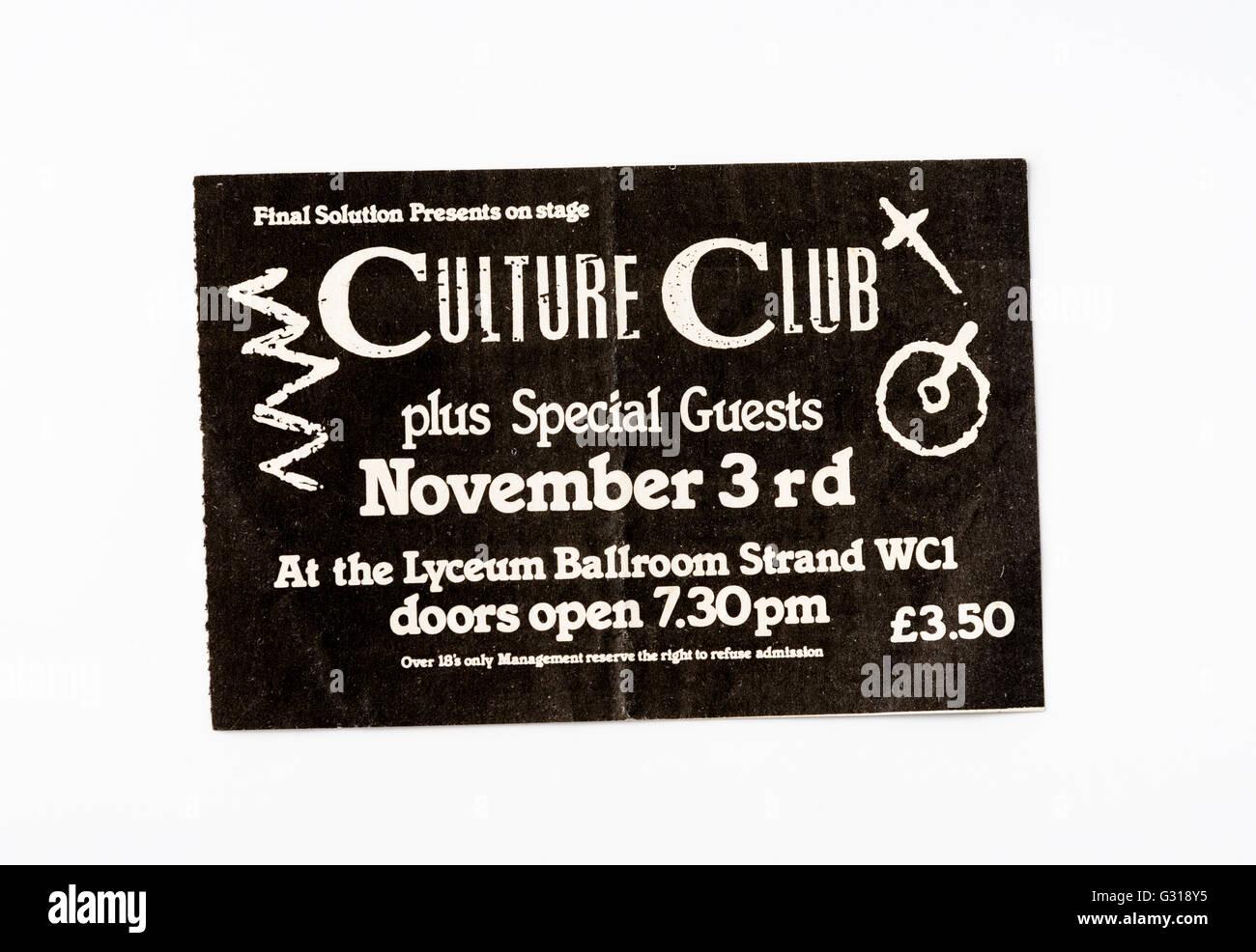 Culture Club Ticket für ein Konzert im Lyceum Ballroom Stockbild