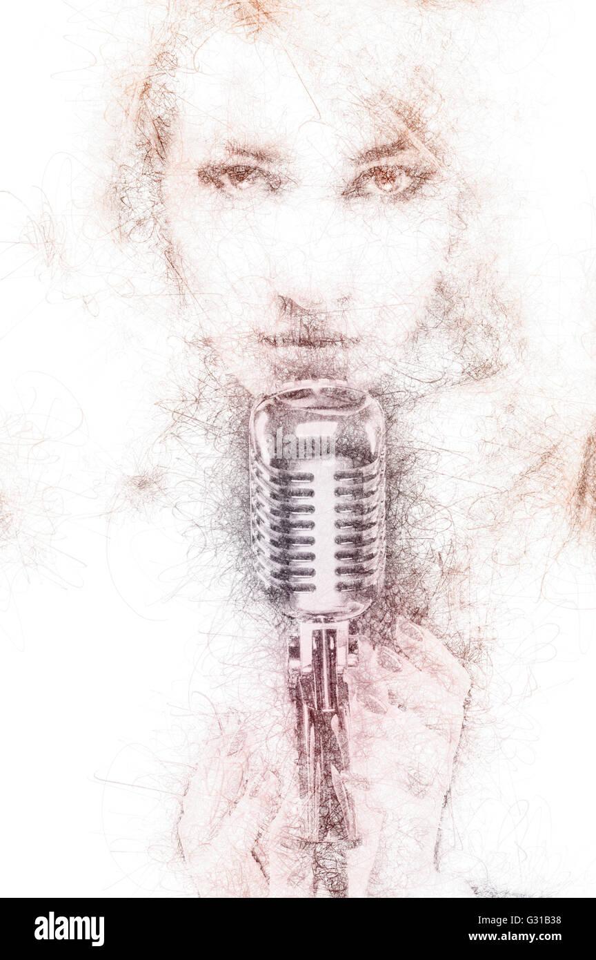 Bleistiftzeichnung von einer schönen Frau mit einem Mikrofon. Digital erzeugte Bild Stockbild