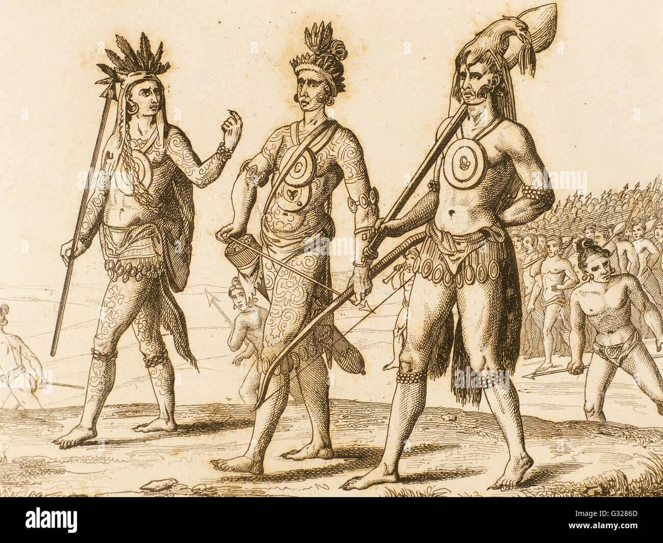 Indianer. 16. Jahrhundert. Kupferstich, 1841. Stockbild