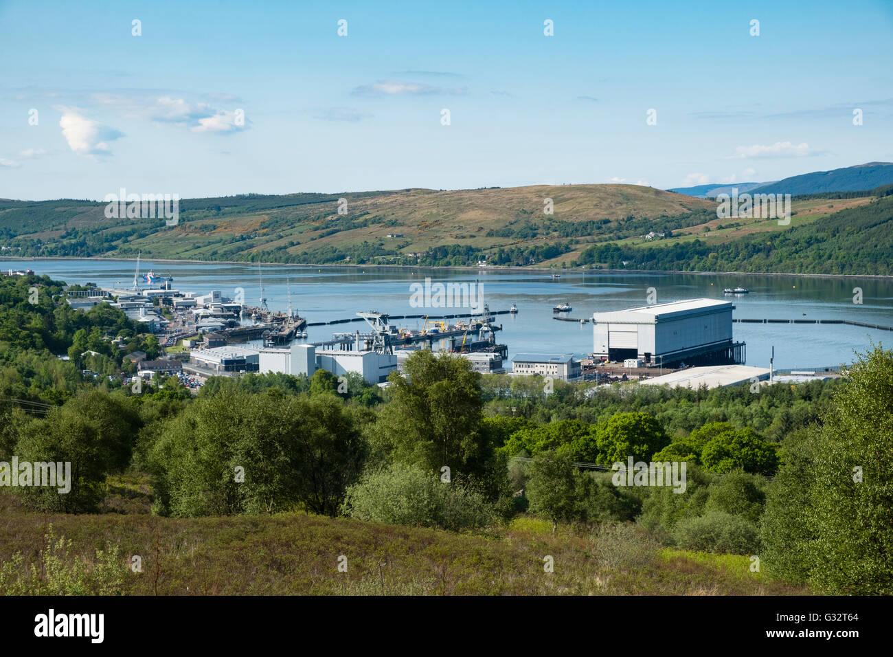 Ansicht der Royal Navy Base, Clyde, in Faslane am Gare Loch in Argyll und Bute Schottland Vereinigtes Königreich Stockbild