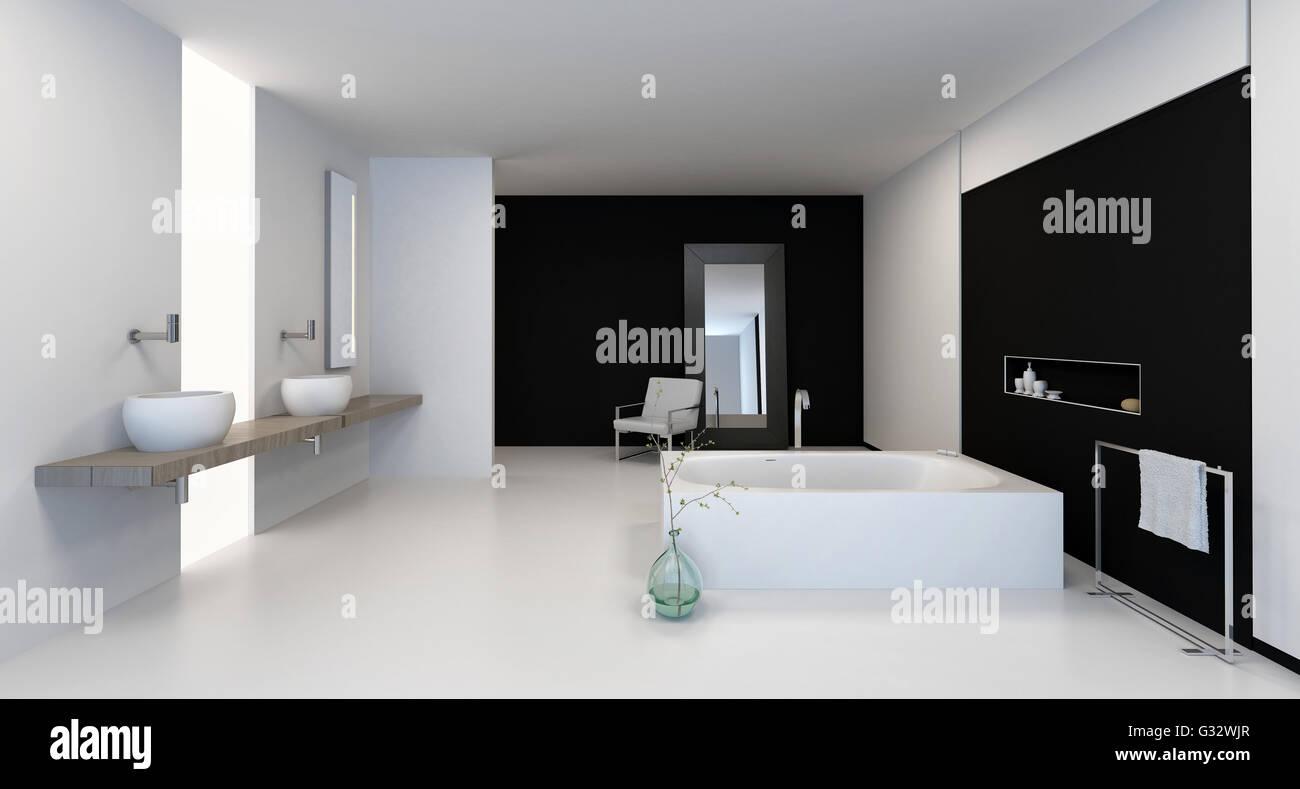 Großen Schwarzen Und Weißen Badezimmer Interieur Mit Modernen Armaturen Und  Eine Doppelte Eitelkeit, 3d, Rendern