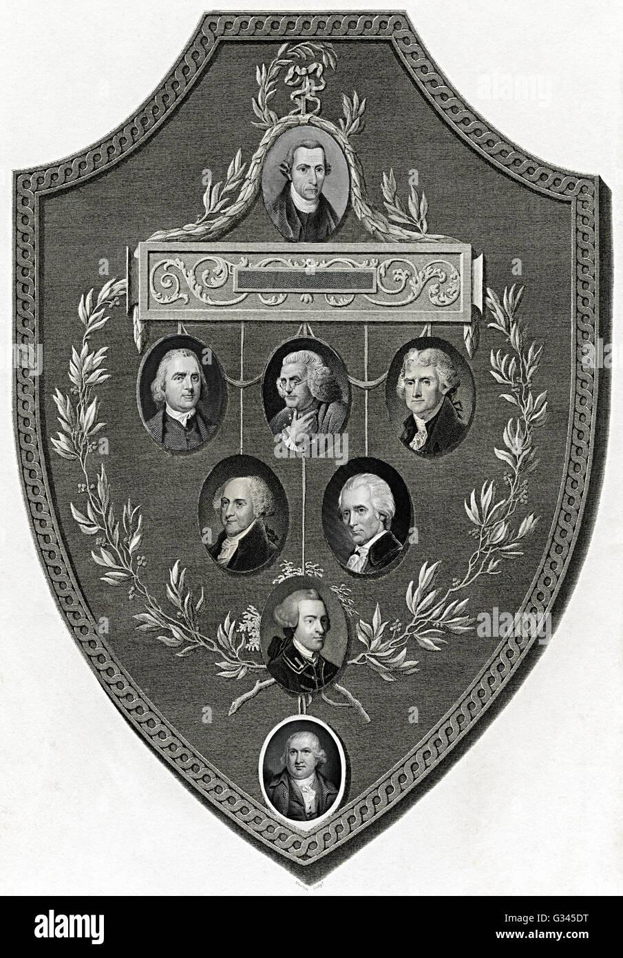 Schild mit Einschub-Porträts von Franklin, Jefferson, Adams und weitere Präsidenten Stockbild