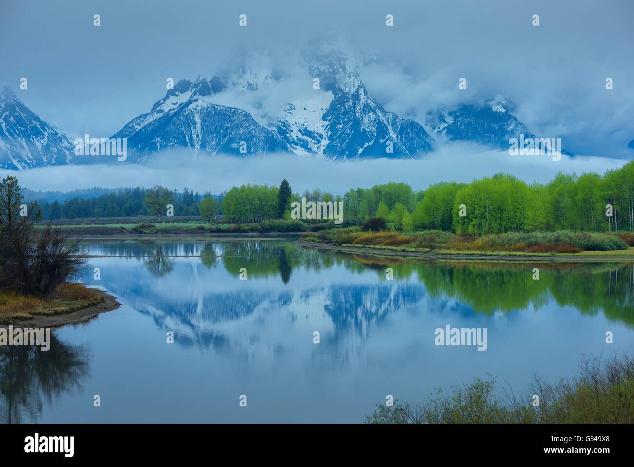 USA, Rockie Mountains in Wyoming, Grand Teton, Nationalpark, Mount Moran, Snake River, Oxbow bend Stockbild