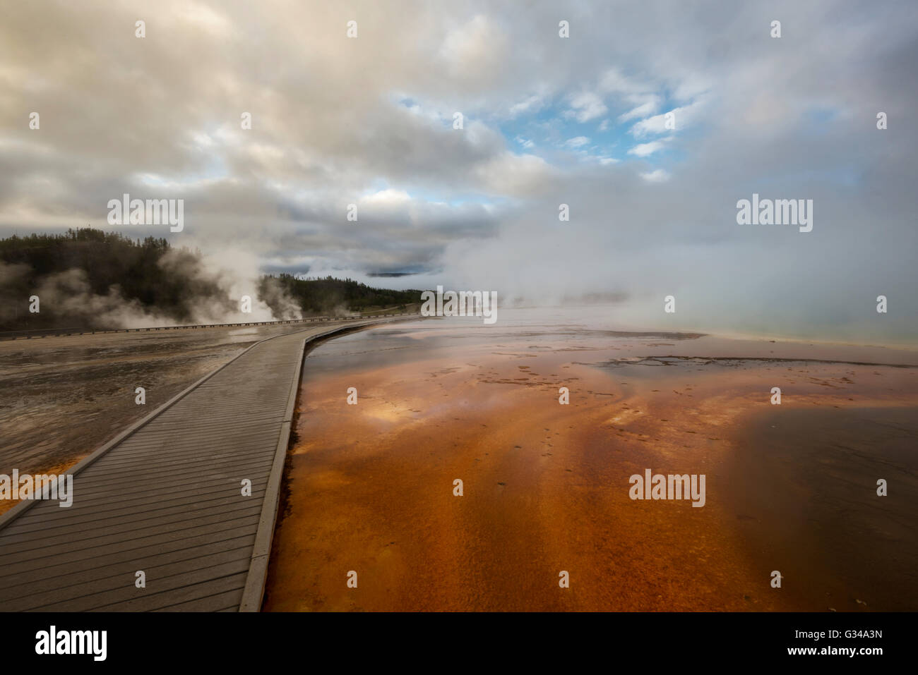USA, Rockie Mountains in Wyoming, Yellowstone National Park, UNESCO, Welterbe, Grand Prismatic Spring Stockbild
