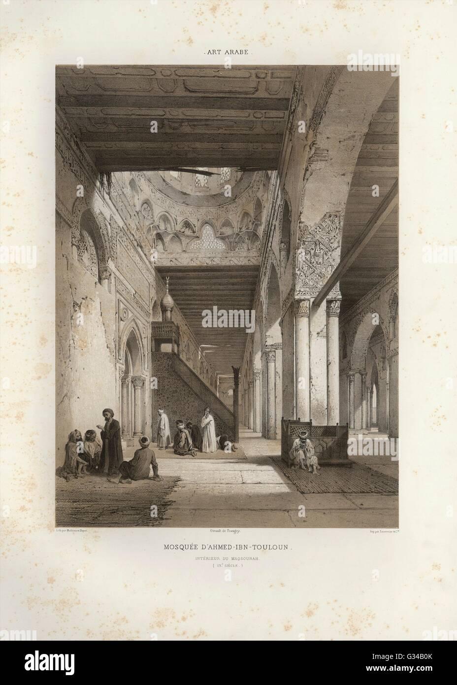 Illustration aus der 1877 Veröffentlichung auf arabische Art: l ' Art Arabe. Denkmäler der Cairo Moschee Stockbild
