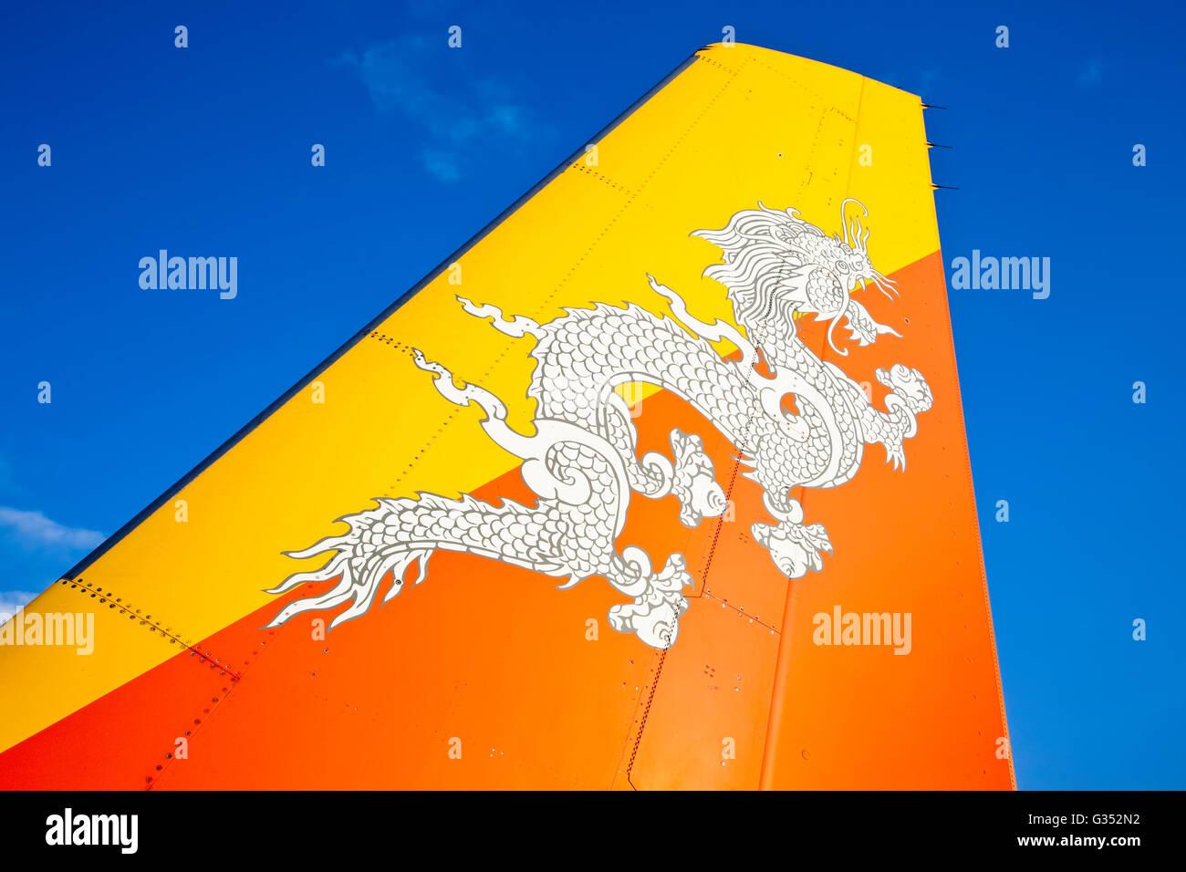 Druk Air Royal Bhutan Airlines Flugzeug Heck Mit Dem Land Nationale