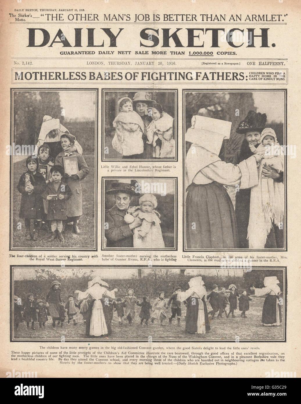 1916 daily Sketch Titelseite mutterlosen Kinder Klosterschule ...