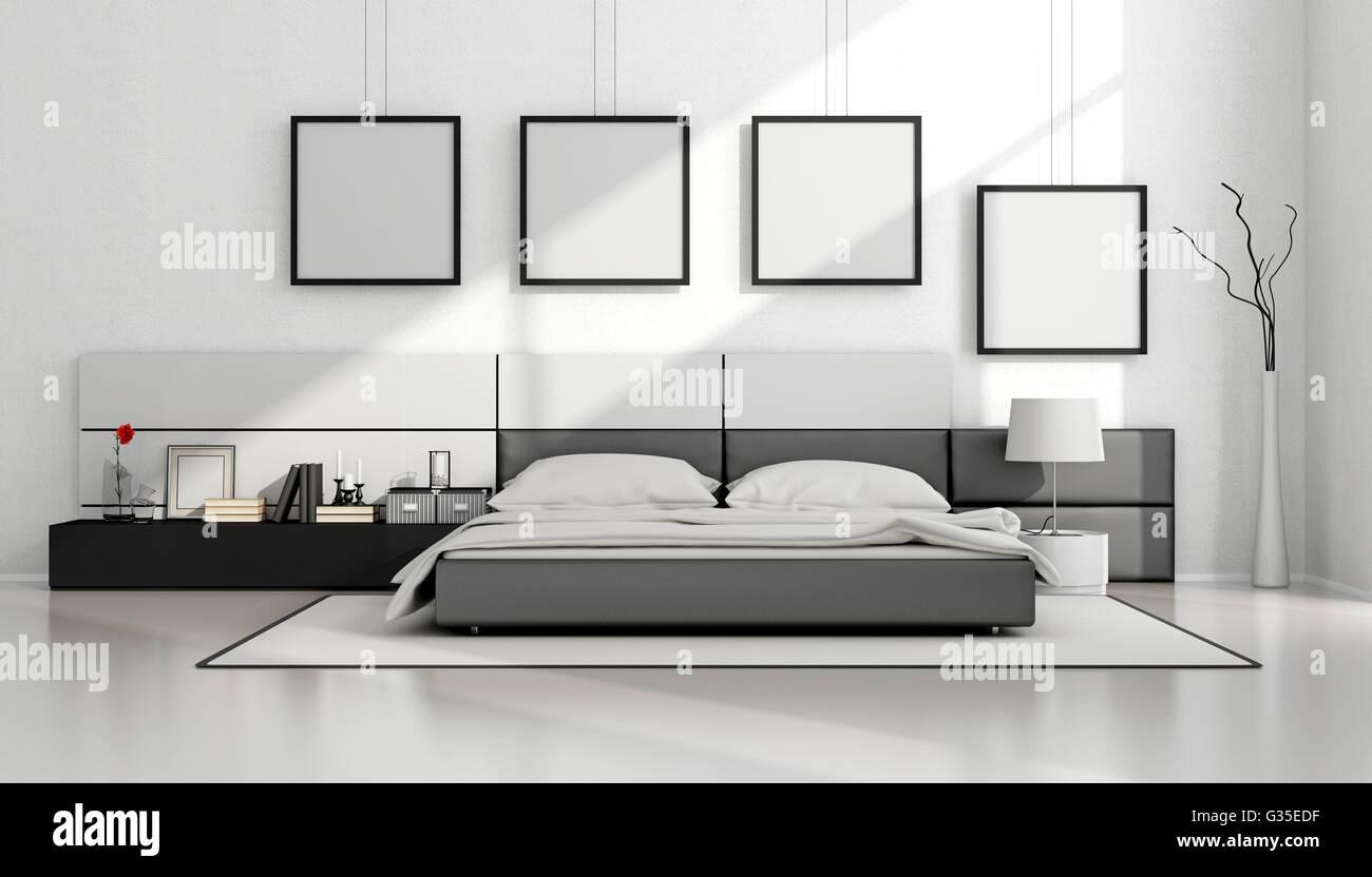 Schwarz / weiß minimalistisches Schlafzimmer mit Doppelbett ...