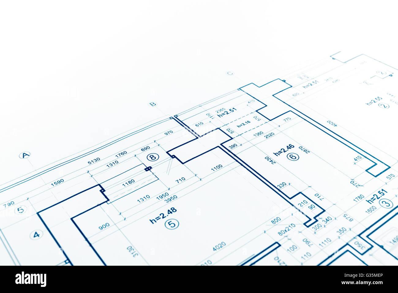 Blaupause, Grundriss, technische Zeichnungen, Bau-Hintergrund ...
