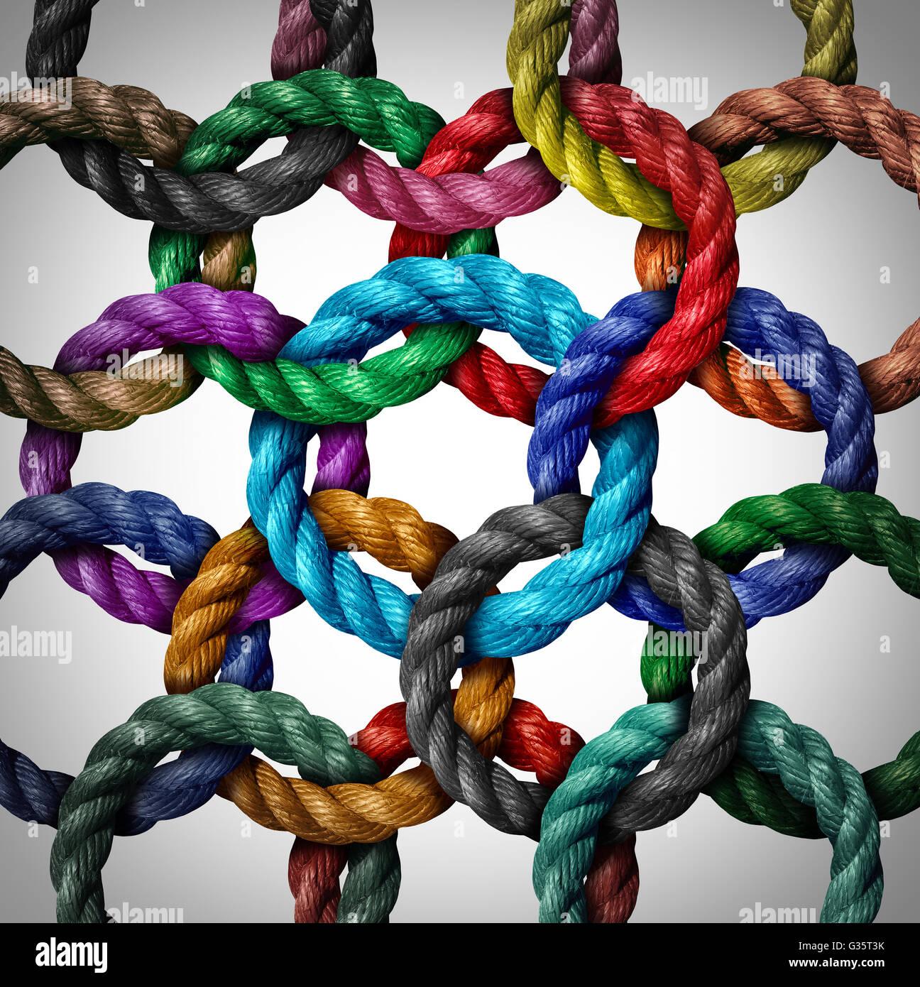 Zentrale Vernetzung und Netzwerk Verbindung Geschäftskonzept als eine Gruppe von vielfältigen Kreis Seile Stockbild