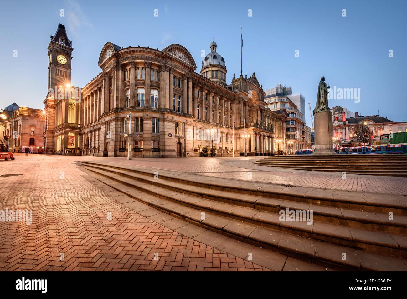 Birmingham Town Hall ist ein Konzertsaal und beliebt für Baugruppen und befindet sich in Victoria Square, Birmingham, Stockbild