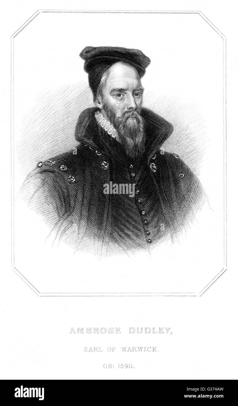 AMBROSE DUDLEY, Graf von WARWICK Staatsmann Datum: 1528-1590 Stockbild