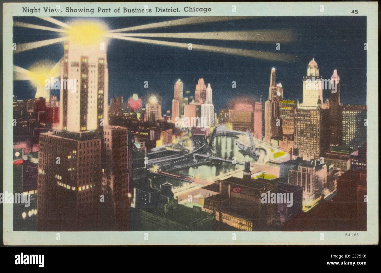 Im Geschäftsviertel in der Nacht.         Datum: um 1930 Stockbild