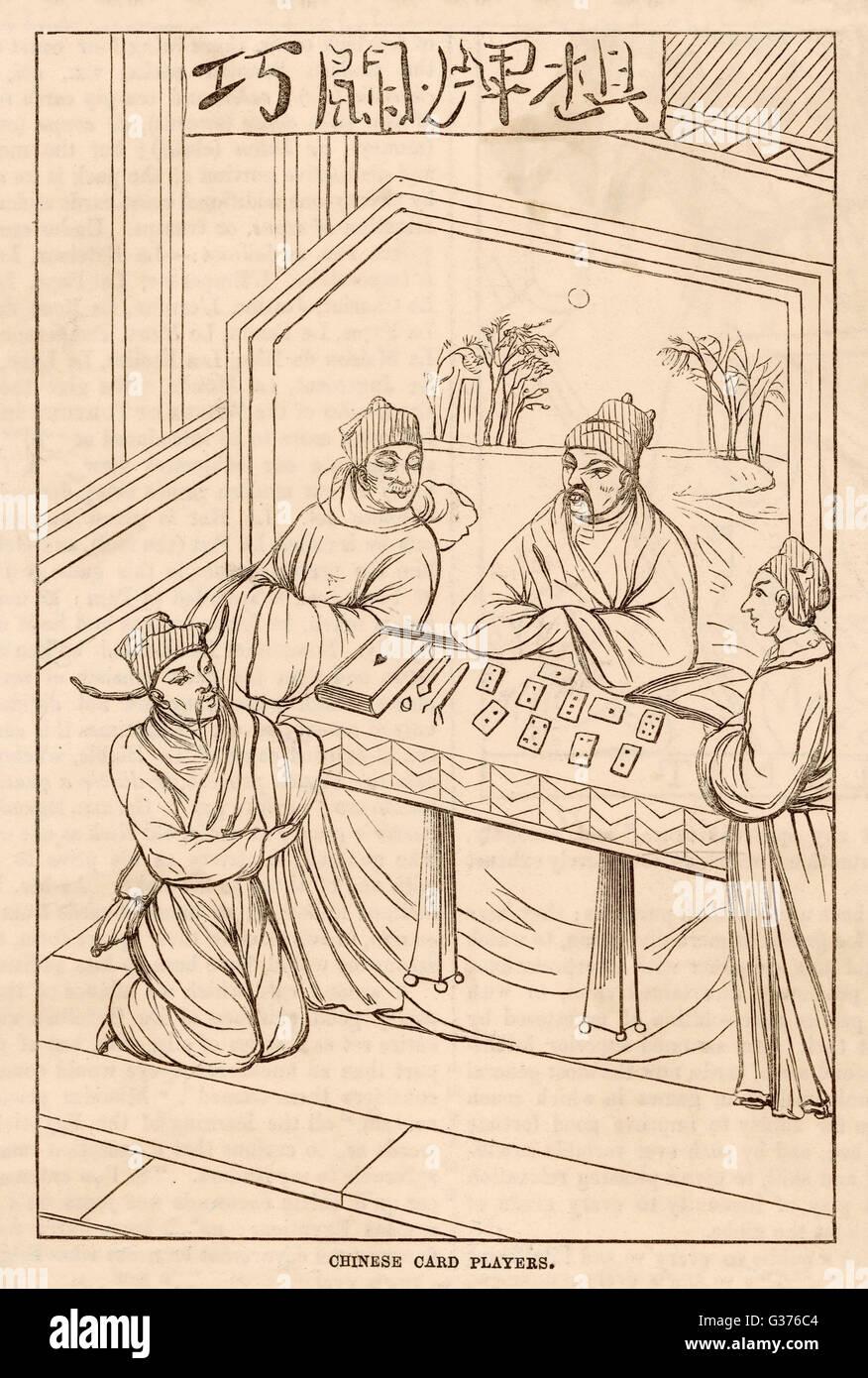 Chinesische Männer lehren eine Kartenspiel für zwei Europäer Datum: circa. 15. Jahrhundert Stockbild