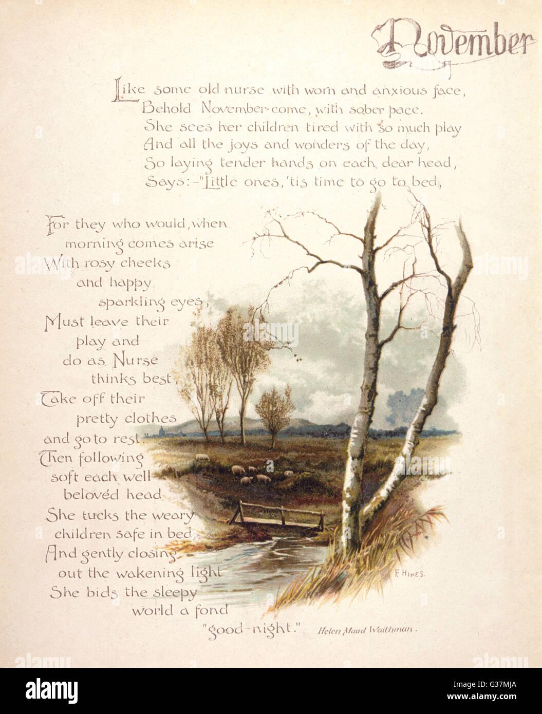 Buchen Sie Abbildung--November, mit einem späten Herbst Country-Szene.      Datum: um 1880 Stockbild