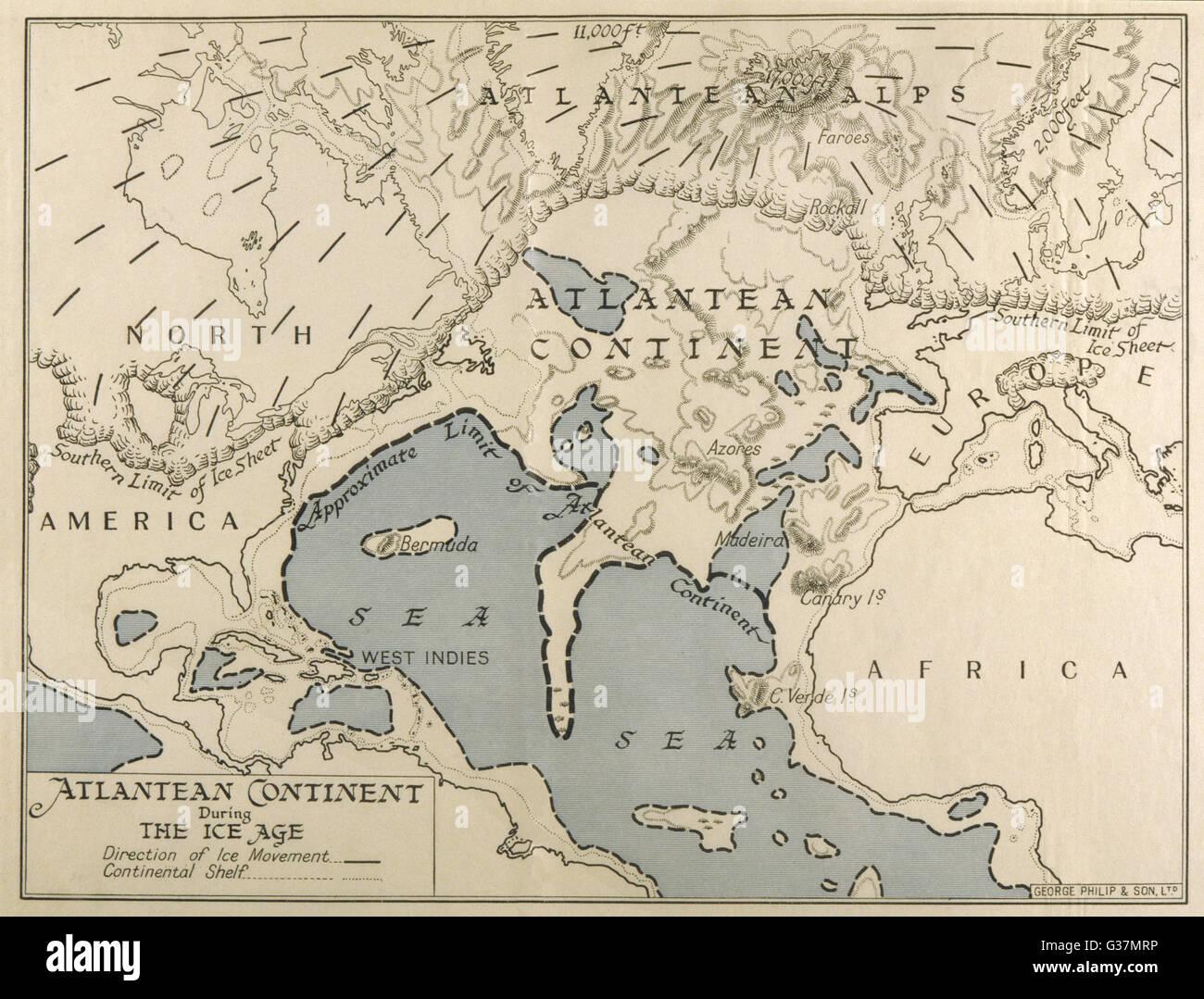 Karte des Atlantischen Kontinents zeigen das Ausmaß der Eiszeit.        Datum: 1933 Stockbild