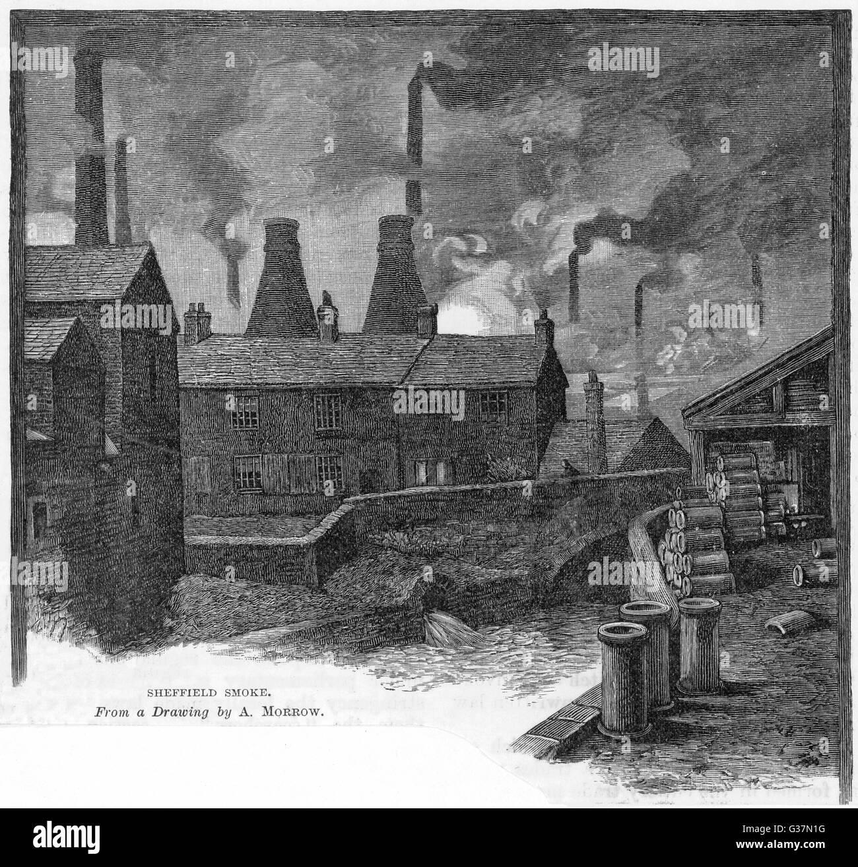 """SMOKE SHEFFIELD"" Fabriken in Sheffield, Yorkshire (England) Datum: 1885 Stockbild"