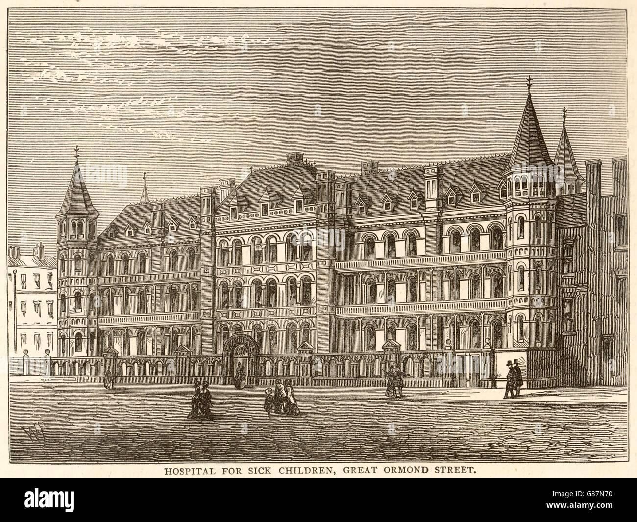 Krankenhaus für kranke Kinder, GT Ormond St.        Datum: um 1880 Stockbild